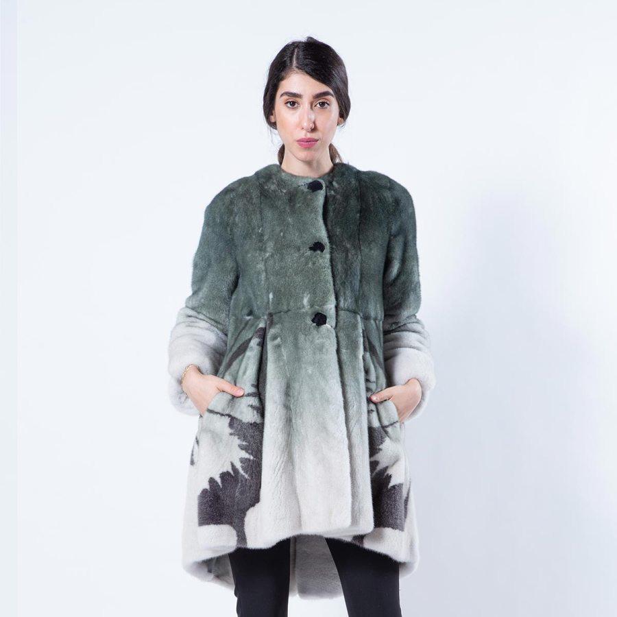 Olive Degrade Mink Coat | Шуба из норки цвета Olive с эффектом деграде - Sarigianni Furs