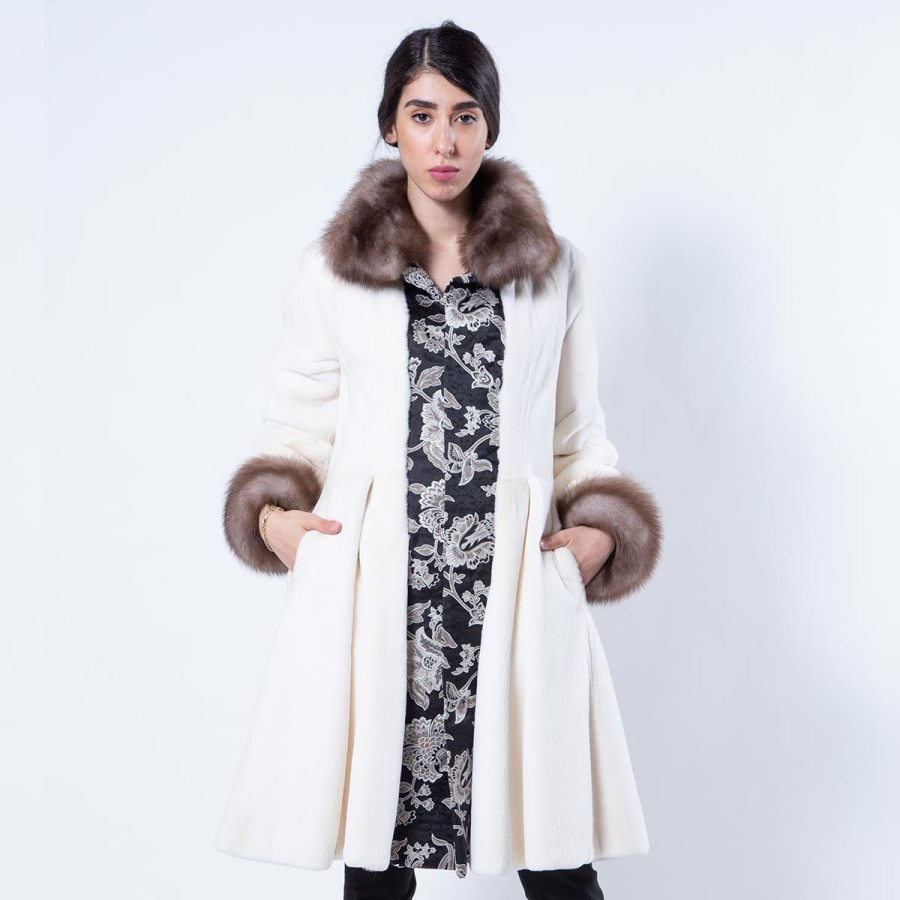 Pearl Sheared Mink Coat | Шуба из меха стриженной норки цвета «жемчуг» - Sarigianni Furs