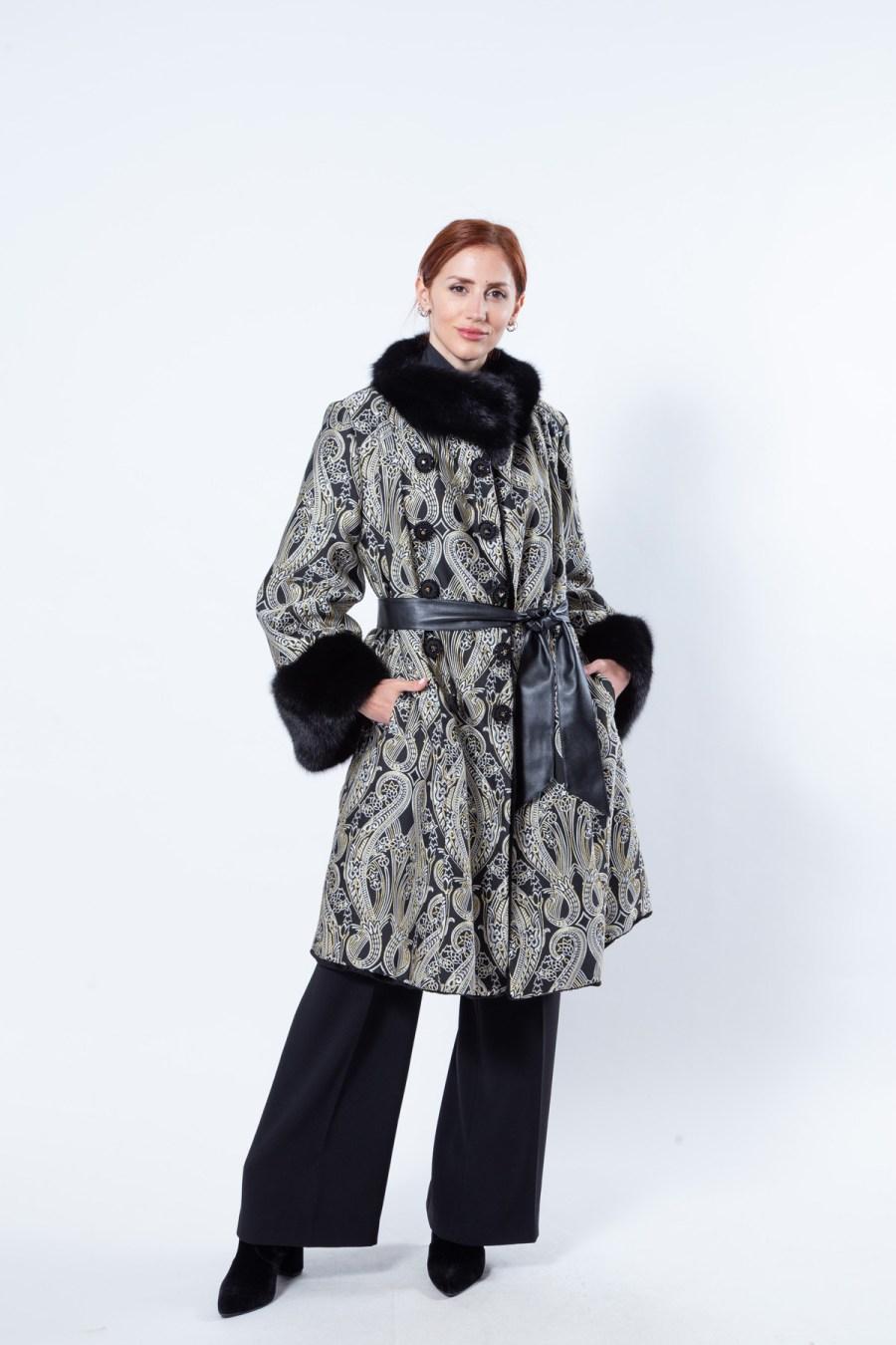 Black Sheared Mink and Fabric Coat | Sarigianni Furs