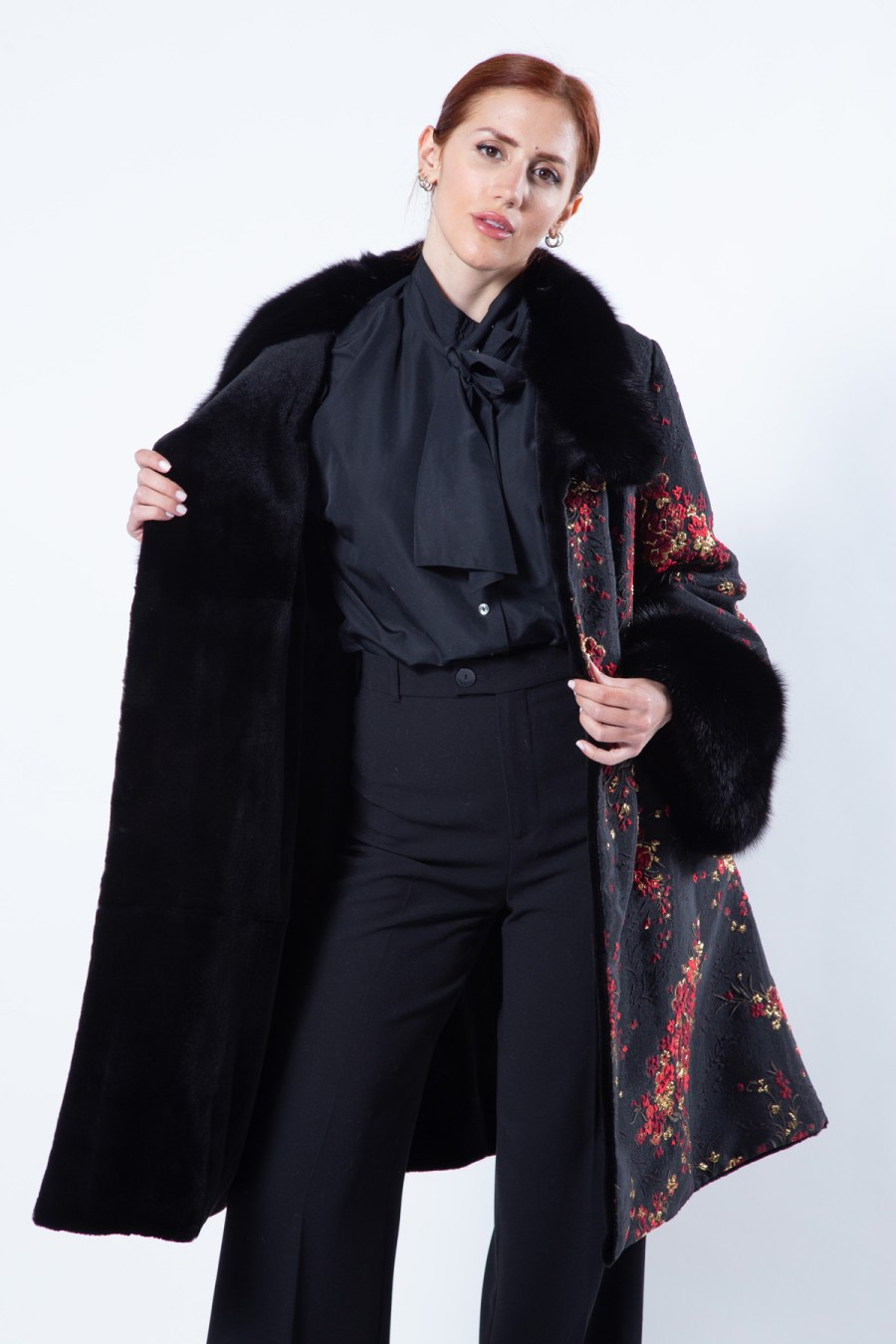 Black Sheared Mink and Fabric Jacket | Sarigianni Furs