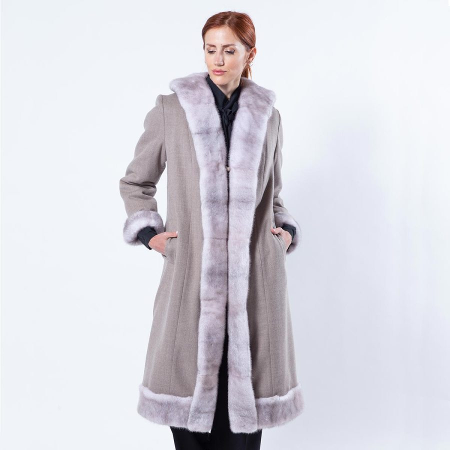 Double-faced Ice Fume Mink and Fabric Coat | Sarigianni Furs