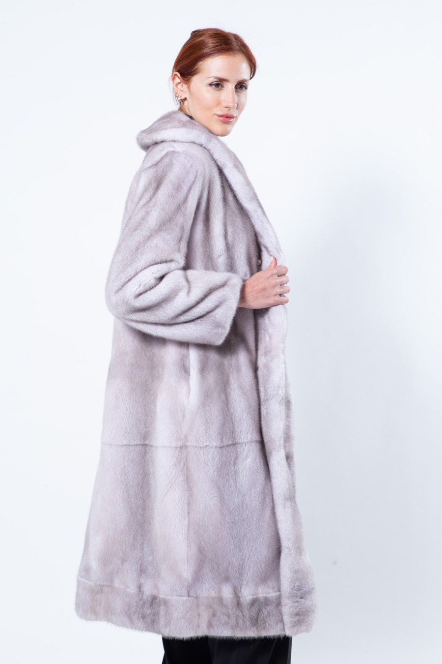 Double-faced Ice Fume Mink and Fabric Coat | Sarigianni Furs