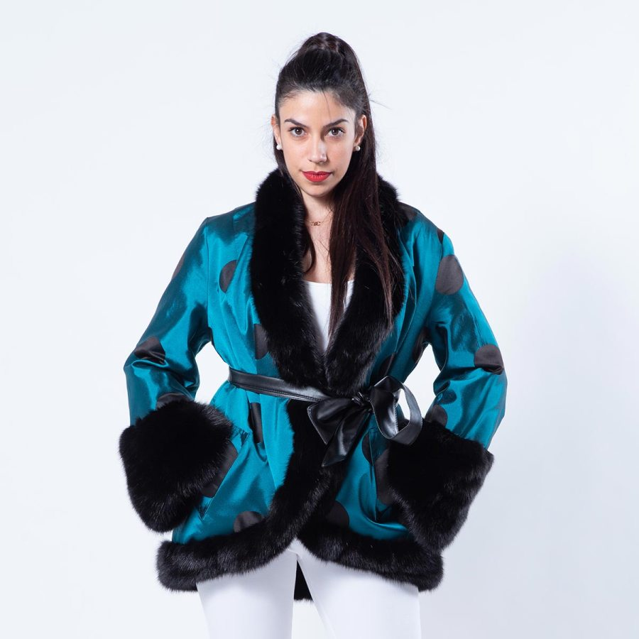 Fabric and Black Sheared Mink jacket | Sarigianni Furs