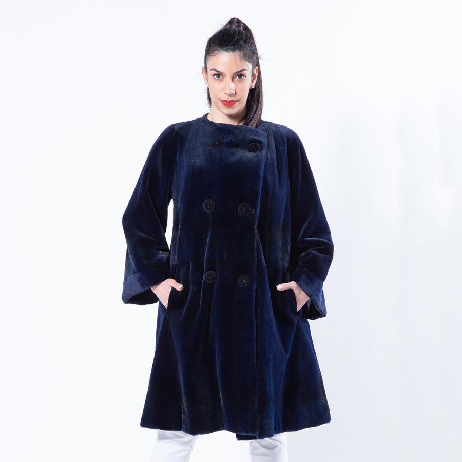 Royal Blue Sheared Mink Jacket | Пальто из стриженной норки цвета Royal Blue - Sarigianni Furs