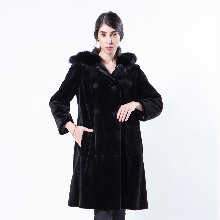 Black Sheared Mink Jacket with Hood | Sarigianni Furs