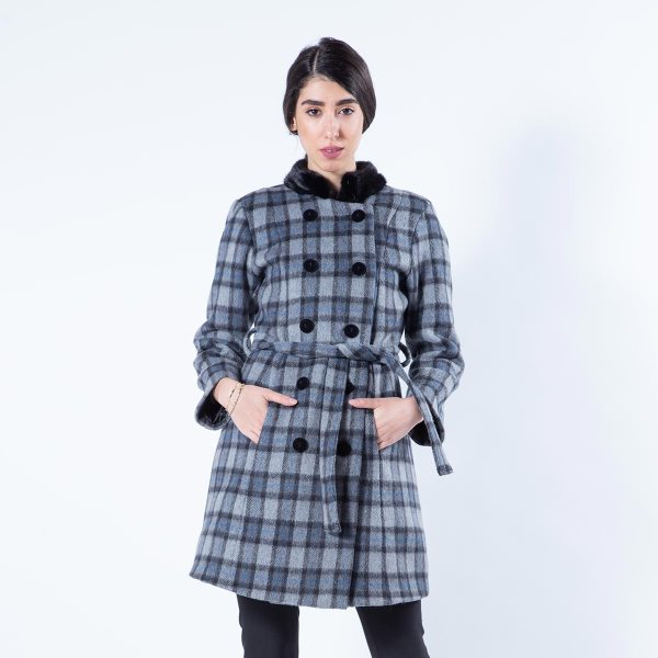 Checkered Fabric Jacket with Mink Collar | Sarigianni Furs