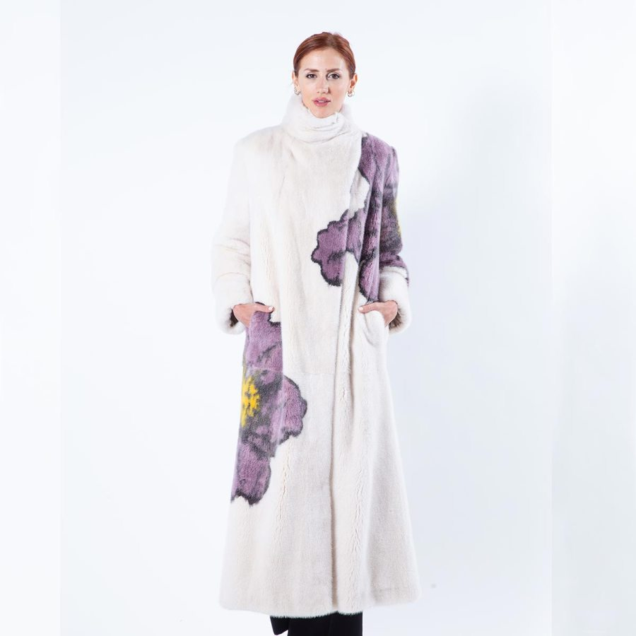 Beige Scuro Mink Coat with Flower Print | Sarigianni Furs