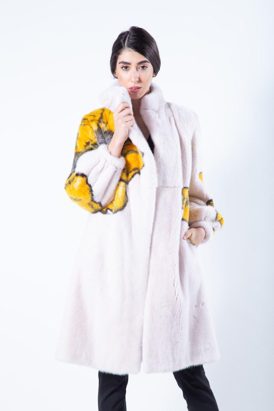 Rosa Scuro Mink Coat with Flower Print | Sarigianni Furs