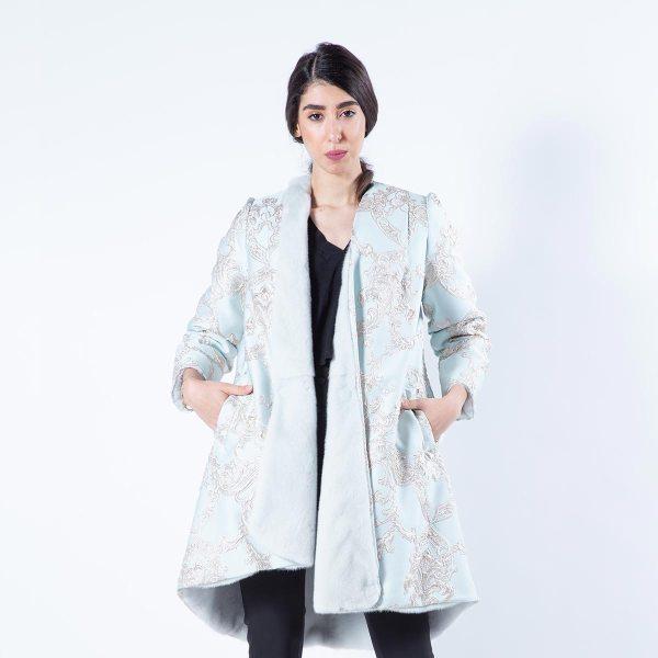Verde Acqua Mink Fur and Fabric Coat | Sarigianni Furs