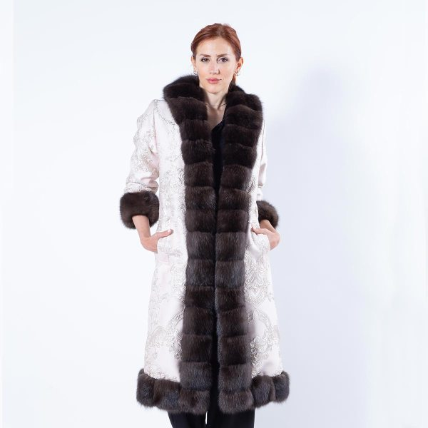 Dark Sable Fur and Fabric Coat - Sarigianni Furs