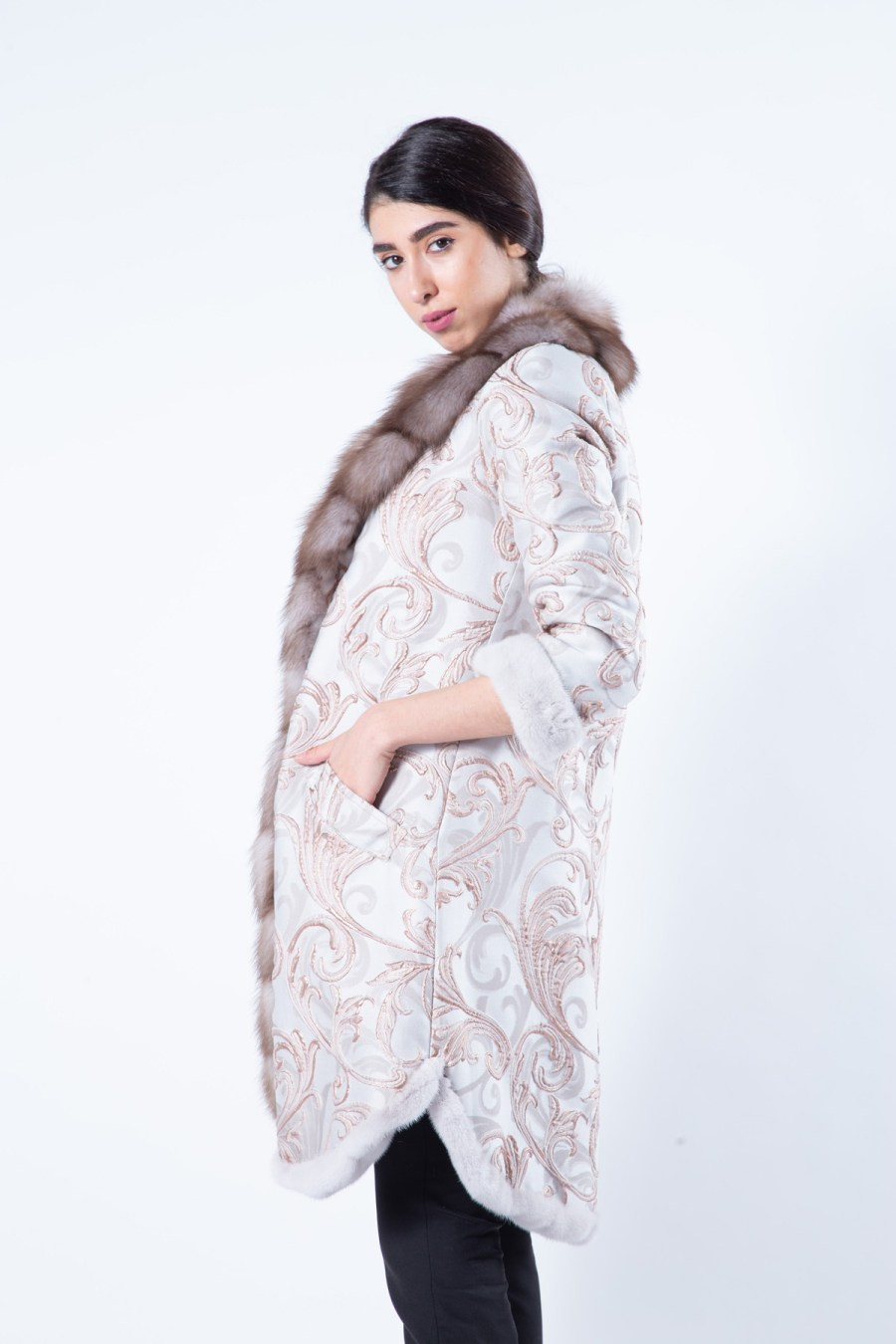 Rosa Mink and Fabric Coat - Sarigianni Furs