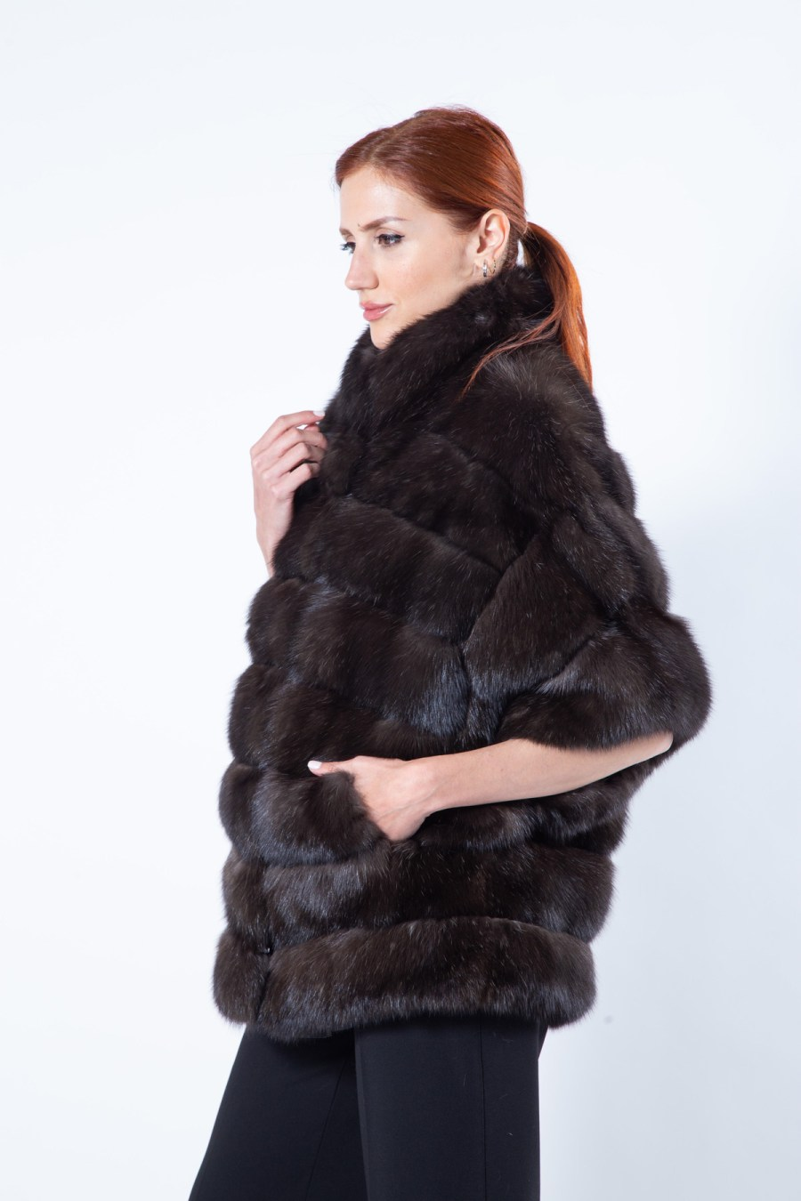 Silvery Sable Fur Cape | Кейп из меха соболя серебристого оттенка - Sarigianni Furs