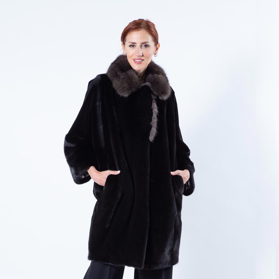 Esmeralda Blackglama Mink Jacket with Sable Collar | Sarigianni Furs