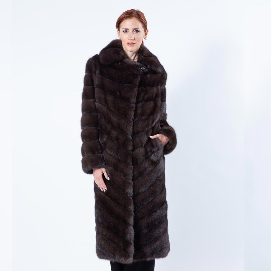 Dark Sable Fur Coat with English Collar | Sarigianni Furs