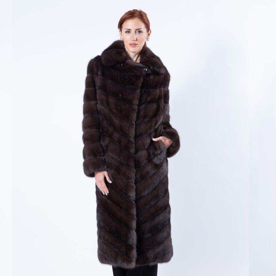 Dark Sable Fur Coat with English Collar | Шуба из меха соболя тёмного цвета с английским воротником - Sarigianni Furs