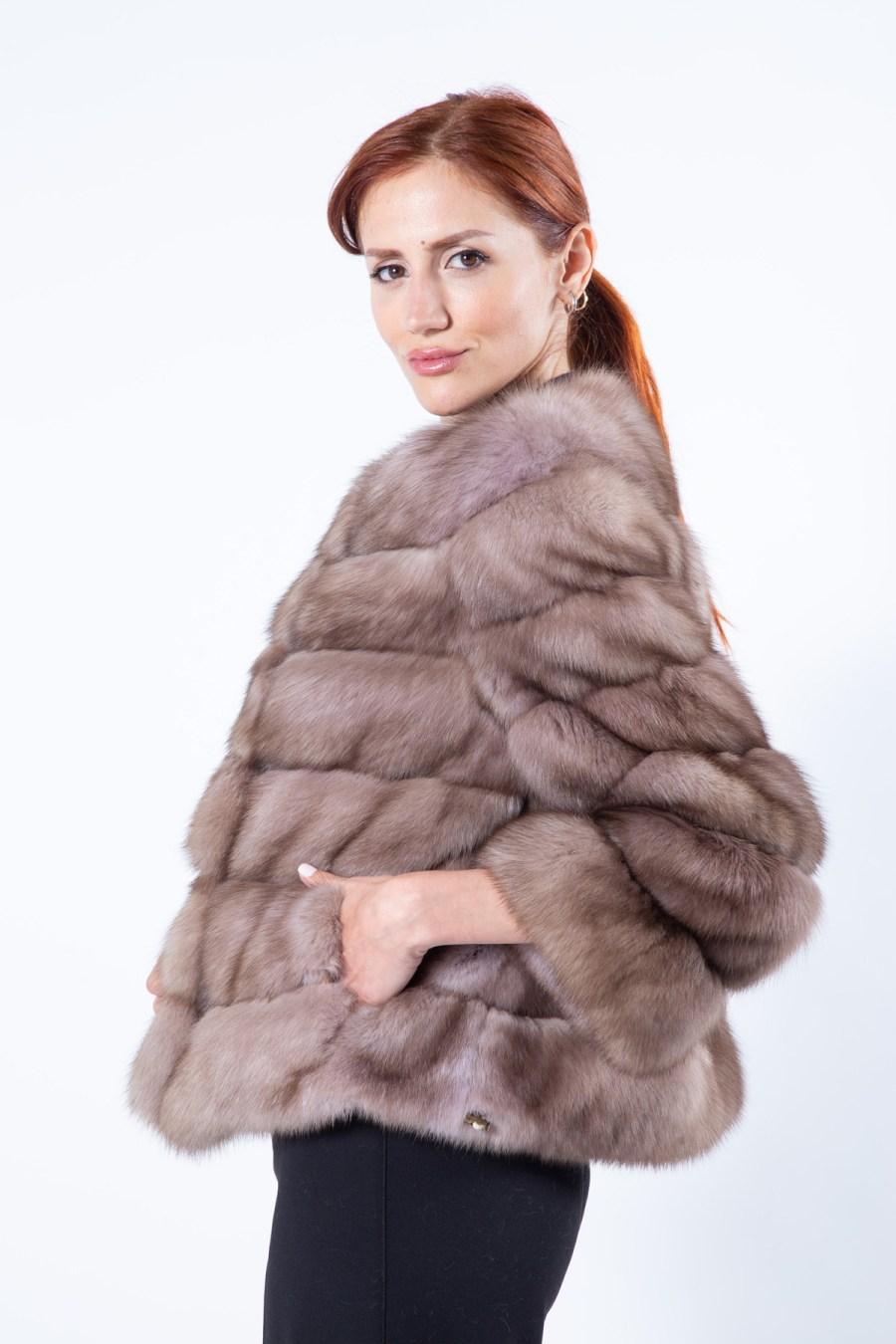 Tortora Sable Fur Jacket with 7/8 Sleeves | Sarigianni Furs