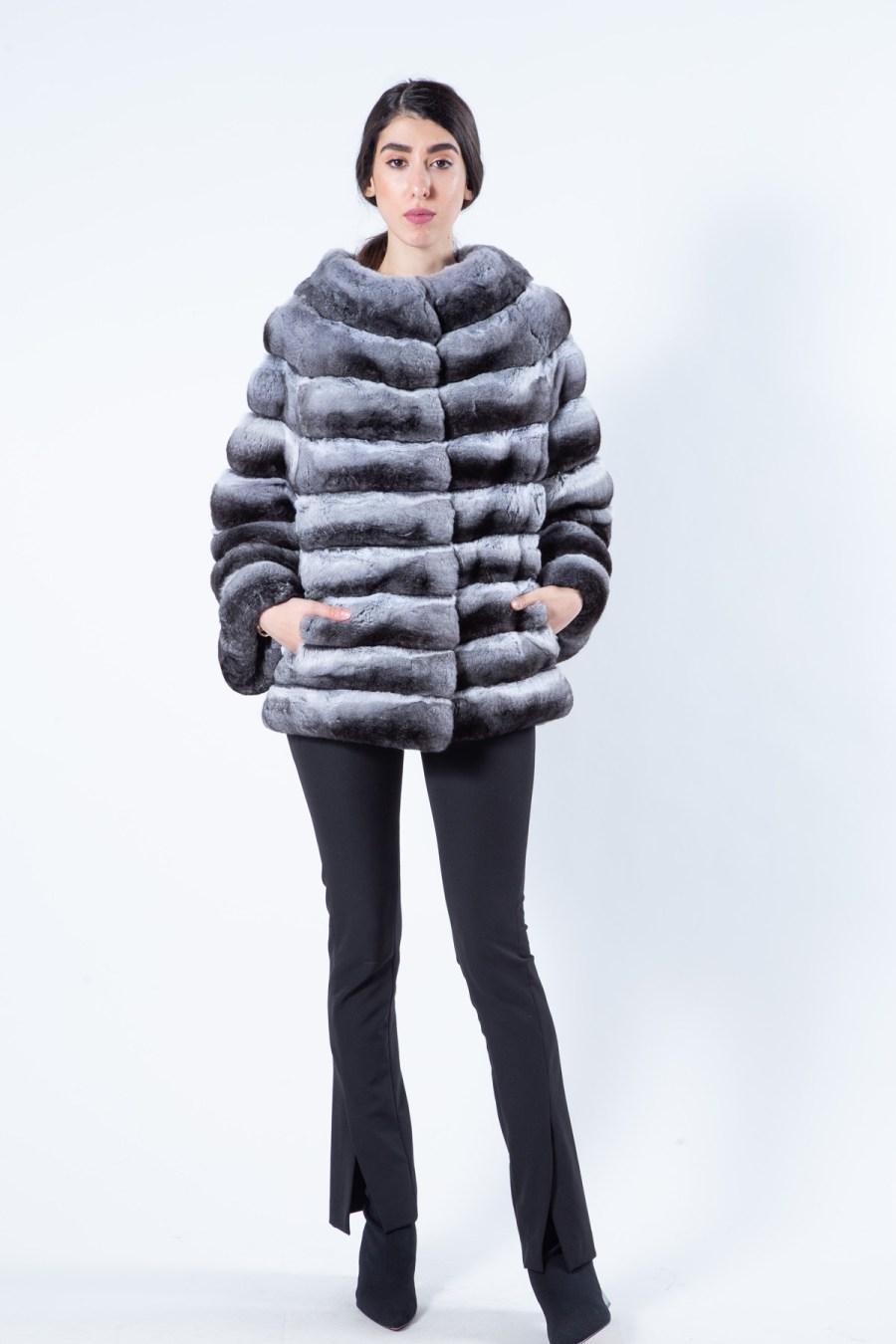 Chinchilla Fur Jacket with 7/8 sleeves | Sarigianni Furs