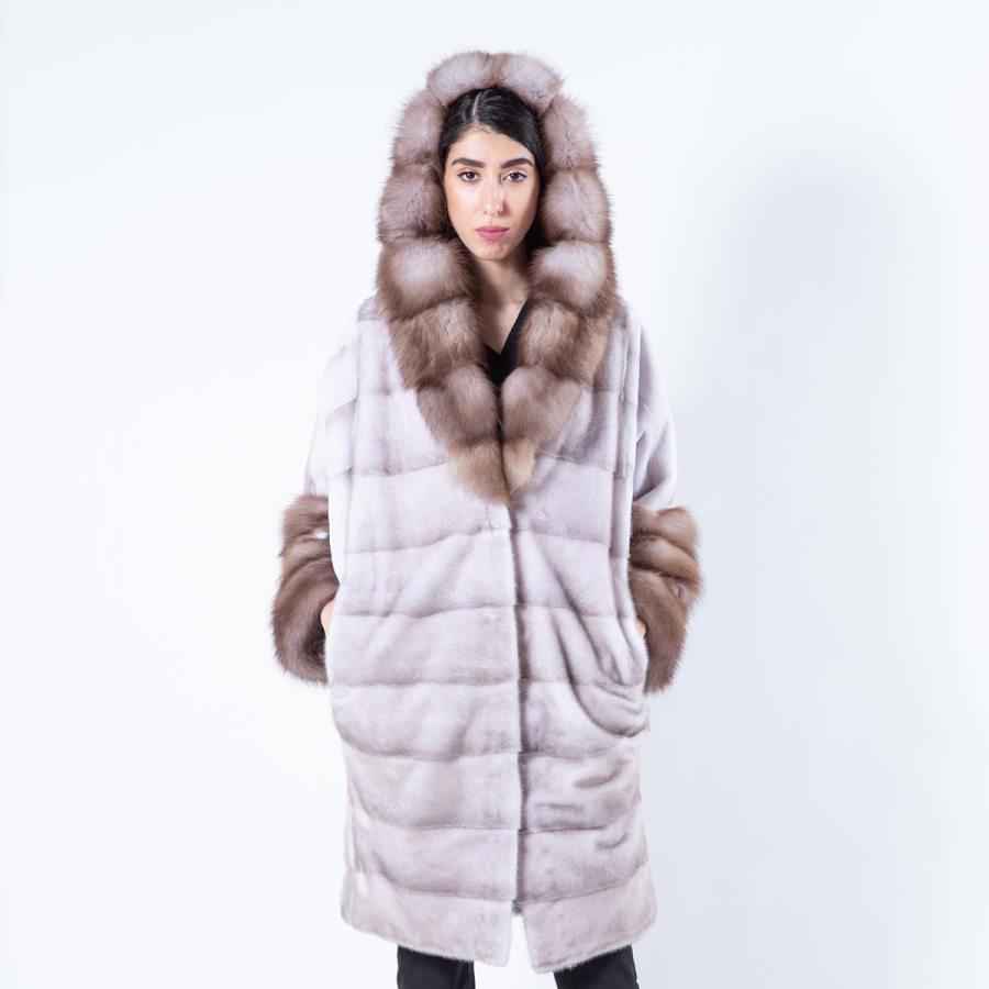 Esmeralda Ice Fume Mink Jacket with hood | Sarigianni Furs