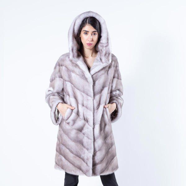 Ice Fume Mink Jacket with Hood | Sarigianni Furs