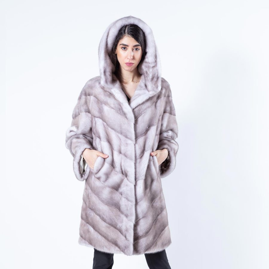 Ice Fume Mink Jacket with Hood | Sarigianni Furs