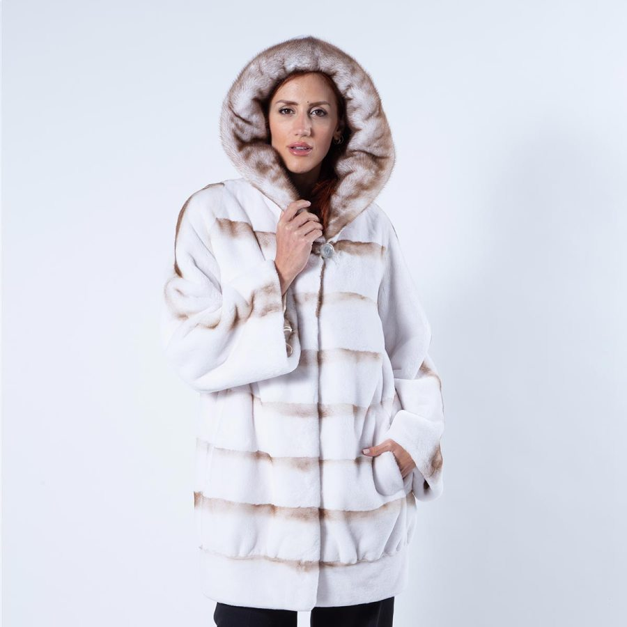 Goldwhite Sheared Mink Jacket with Hood | Sarigianni Furs