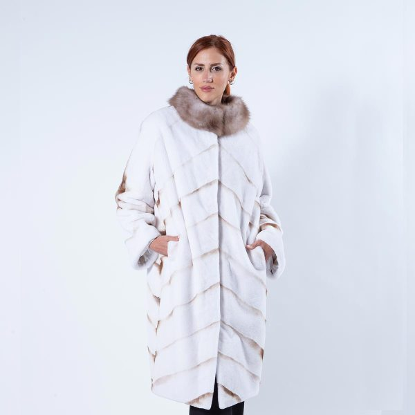 Goldwhite Sheared Mink Coat with marten collar   Sarigianni Furs