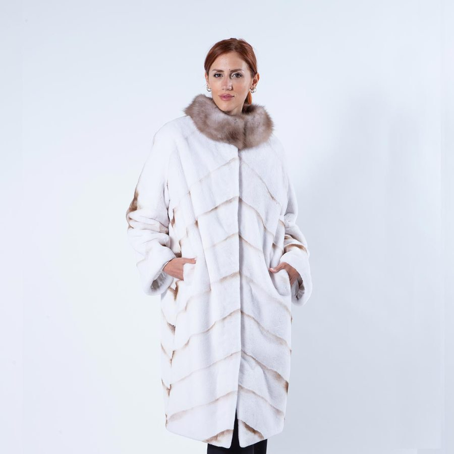 Goldwhite Sheared Mink Coat with marten collar | Sarigianni Furs