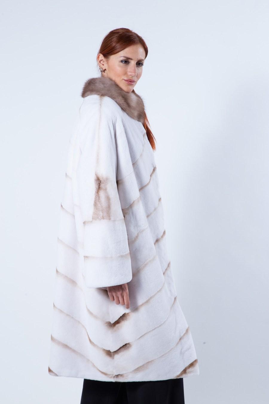 Goldwhite Sheared Mink Coat with marten collar | Sarigianni Furs