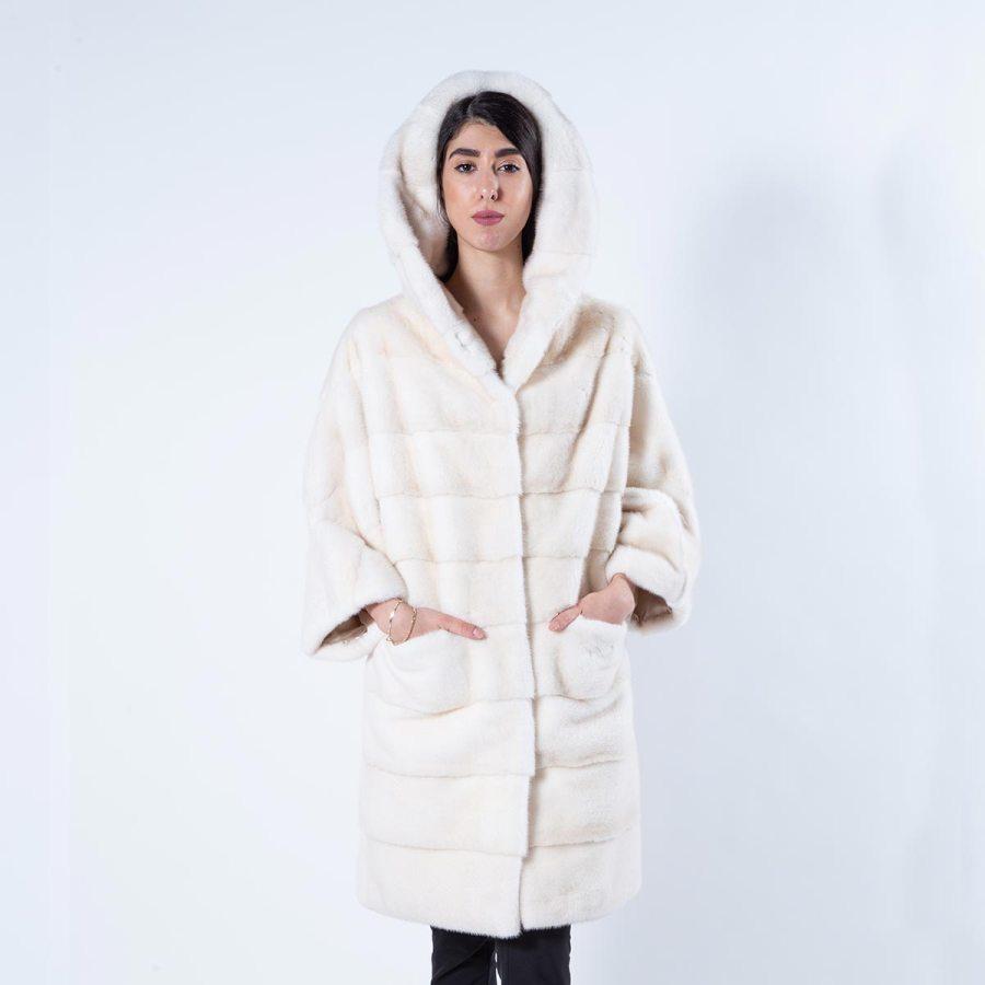 Pearl Mink Fur Jacket with hood | Sarigianni Furs