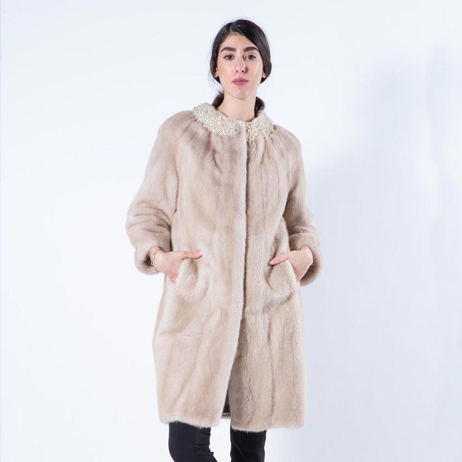 Palomino Mink Fur Jacket | Пальто из меха норки цвета Palomino - воротник шанель с жемчугом - Sarigianni Furs