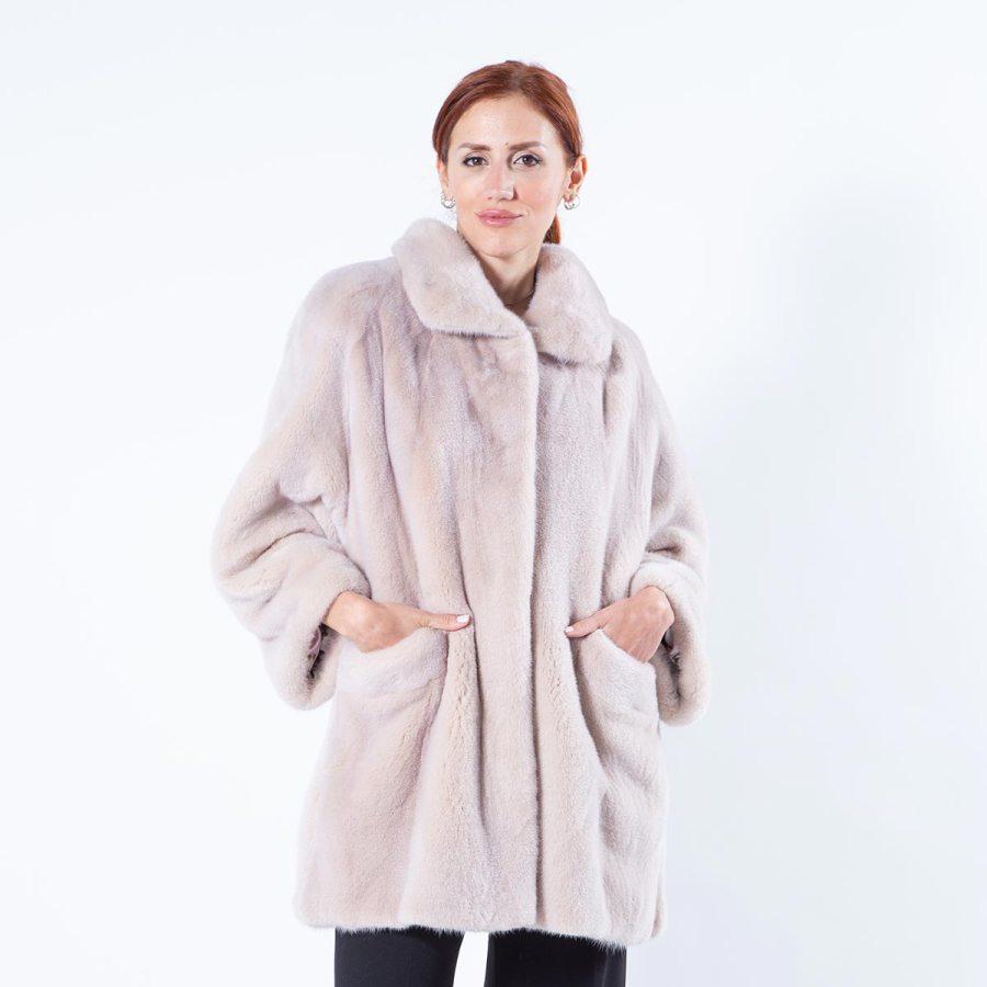 Ivory Mink Fur Jacket with external pockets | Sarigianni Furs