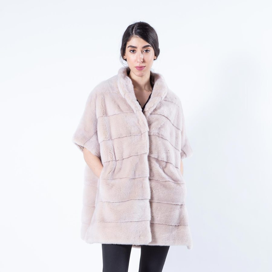 Ivory Mink Fur Cape | Sarigianni Furs