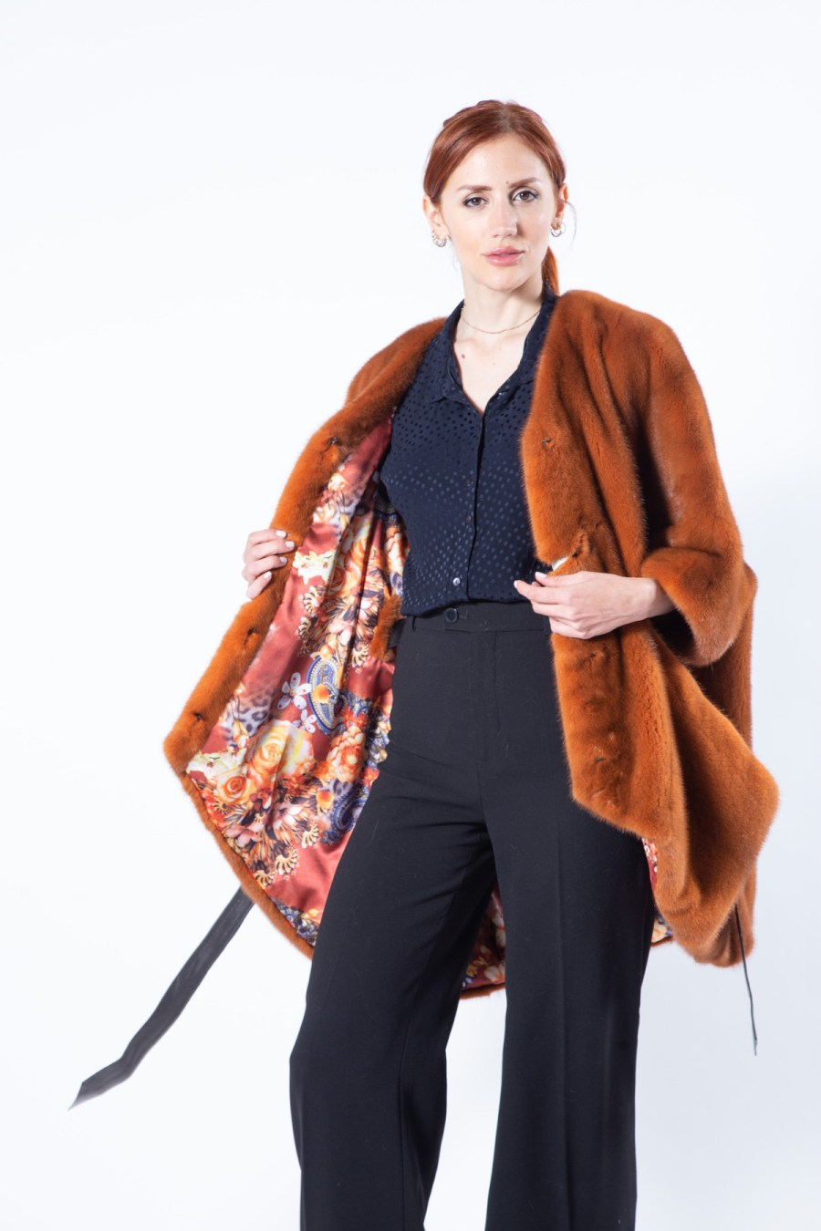 Caramela Mink Jacket in orange with short sleeves | Sarigianni Furs