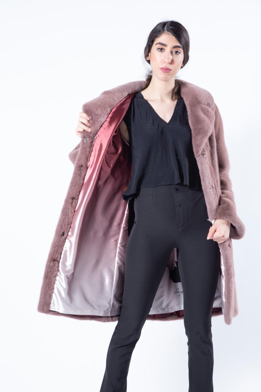 Antique Rose Scuro Mink Jacket with english collar | Sarigianni Furs