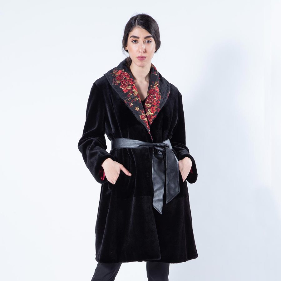 Black Sheared Mink Fur Jacket with regular sleeves | Sarigianni Furs