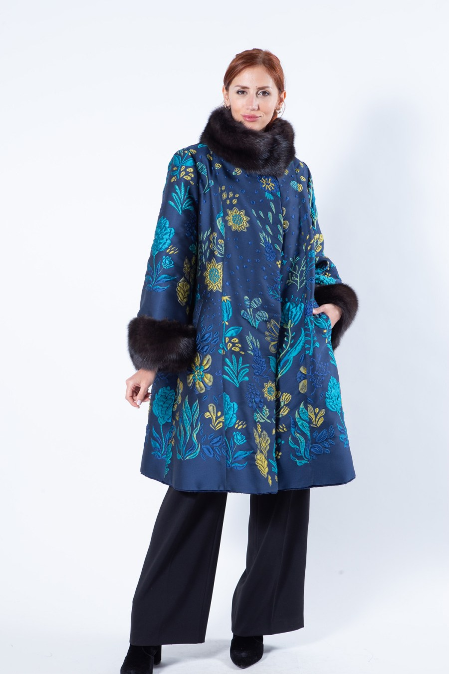 Double-faced Royal Blue Sheared Mink and Fabric Coat | Sarigianni Furs