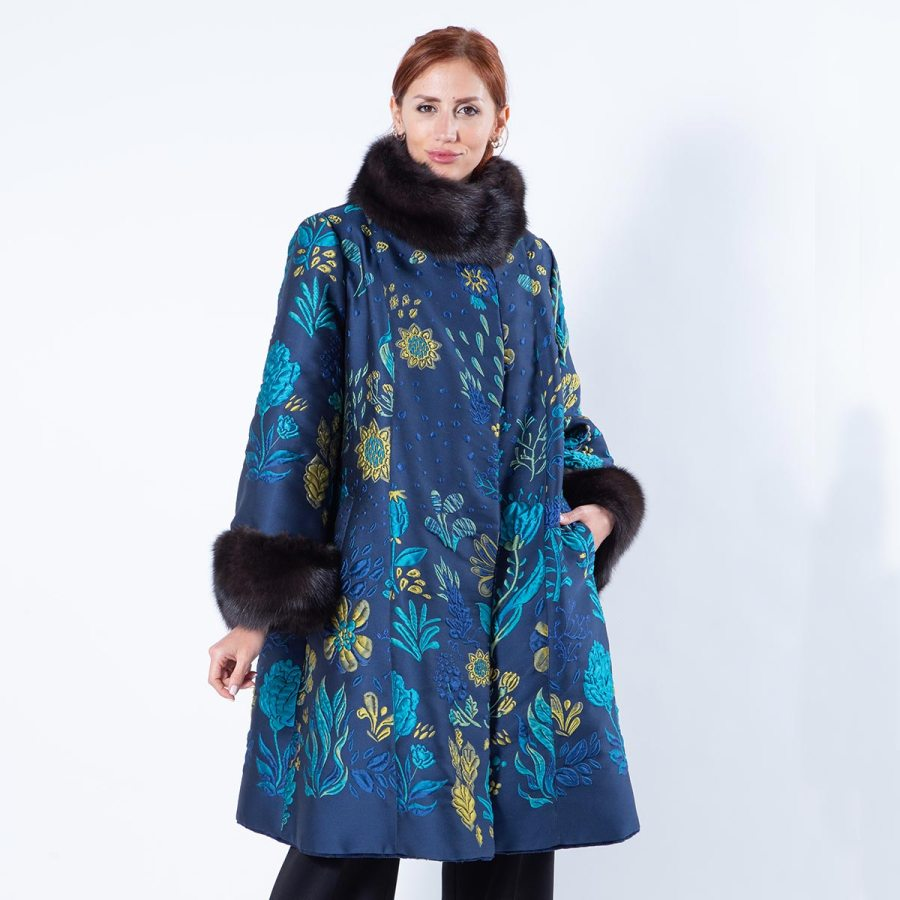 Double-faced Royal Blue Sheared Mink and Fabric Coat | Sarigianni Furs