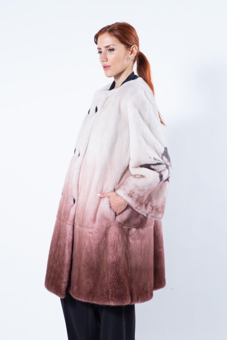 Bordeaux Degrade Mink Fur Jacket with Butterfly Print   Sarigianni Furs