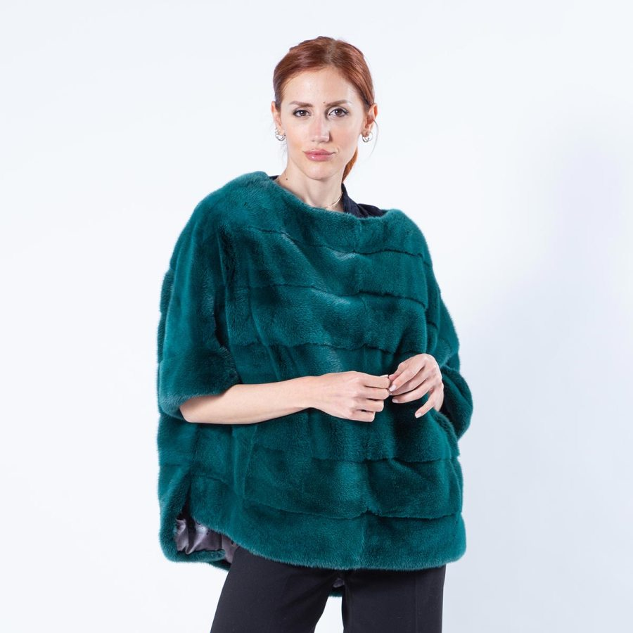Shock Green Mink Fur Blouse | Блуза из меха норки цвета Shock Green - Sarigianni Furs