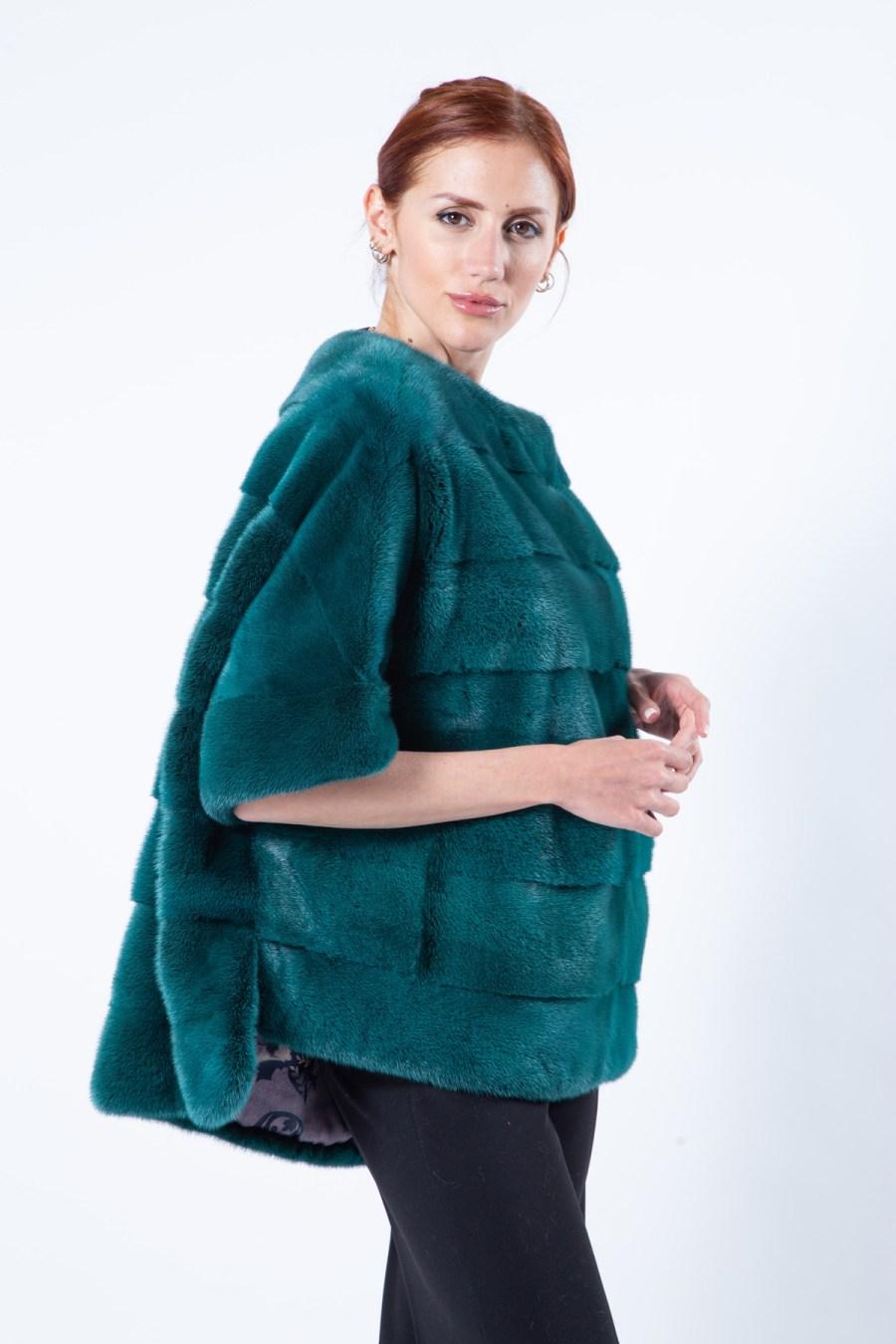 Shock Green Mink Fur Blouse | Блуза из меха норки цвета Shock Green - Sarigianni Furs
