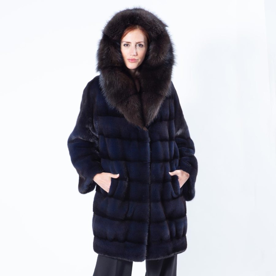 Royal Blue Mink Fur Jacket with Hood - Sarigianni Furs