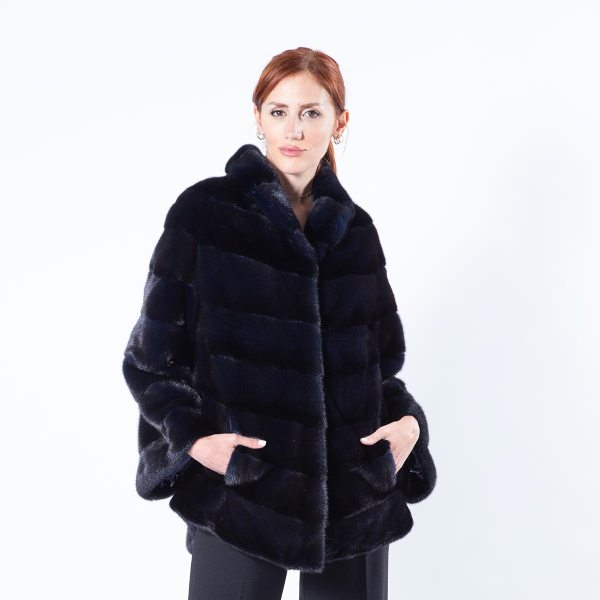 Royal Blue Mink Fur Jacket - Sarigianni Furs