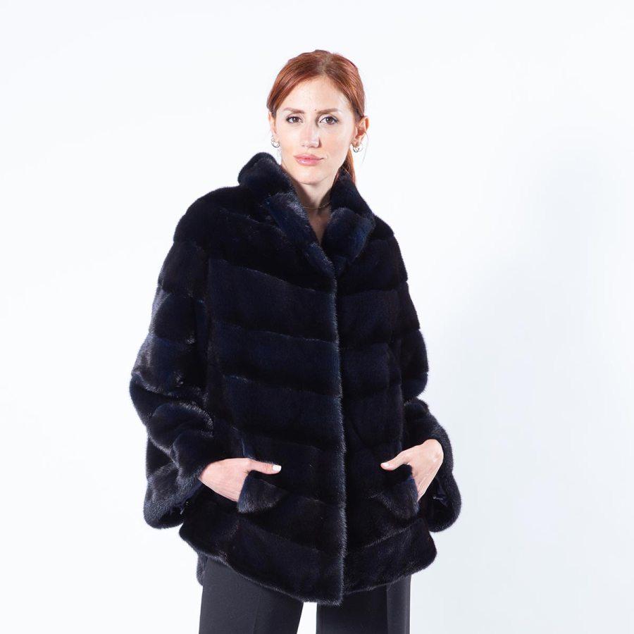 Royal Blue Mink Fur Jacket - Sarigianni Furs