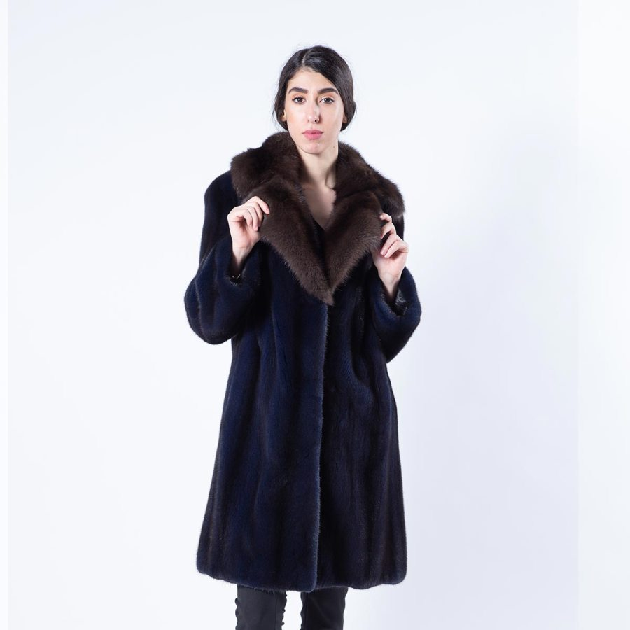 Royal Blue Mink Jacket with sable collar - Sarigianni Furs