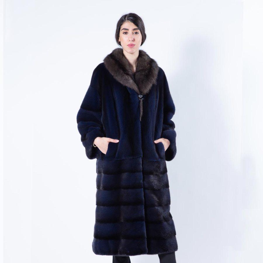 Royal Blue Mink Coat with sable collar - Sarigianni Furs