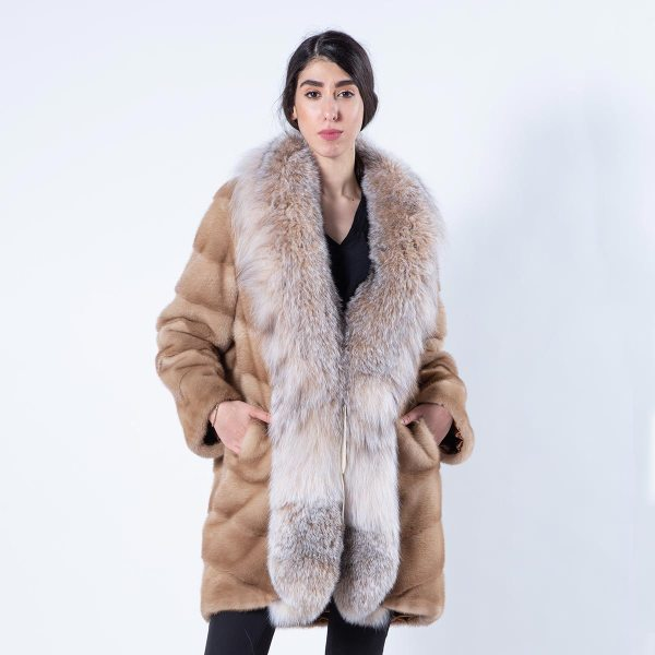 Pastel Mink Jacket with Lynx front - Sarigianni Furs