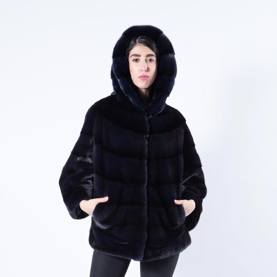 Mink Jacket with hood in Royal Blue - Sarigianni Furs