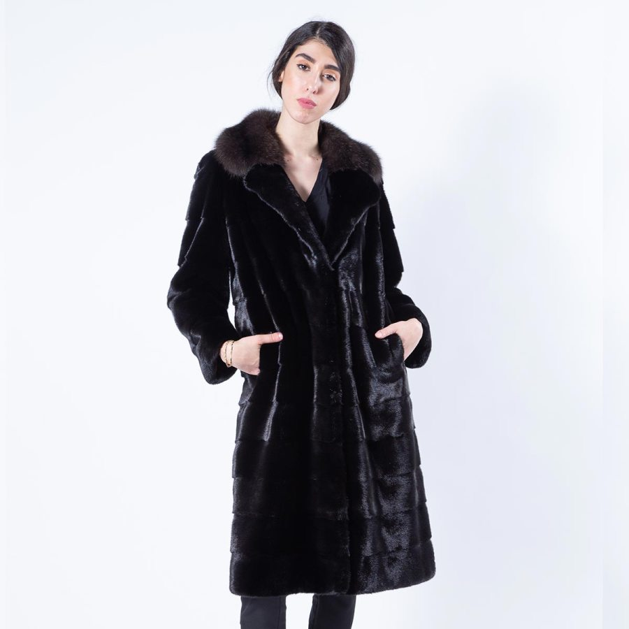 Blackglama Mink Coat with Sable collar | Sarigianni Furs