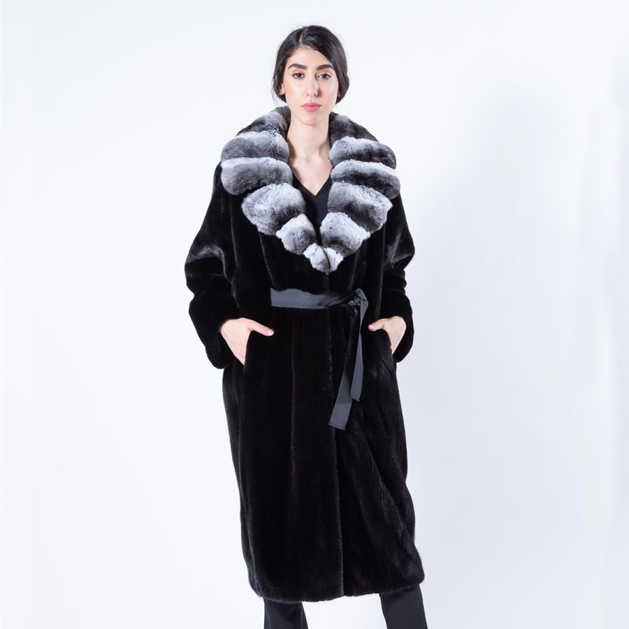 Blackglama Mink Coat with chinchilla collar | Sarigianni Furs