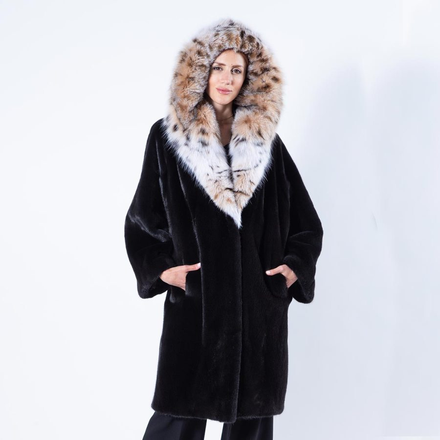 Blackglama Mink Coat with Bobcat hood | Шуба из норки Blackglama с капюшоном из рыжей рыси - Sarigianni Furs